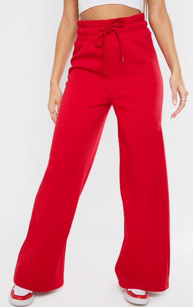 Red Deep Waistband Wide Leg Joggers 2