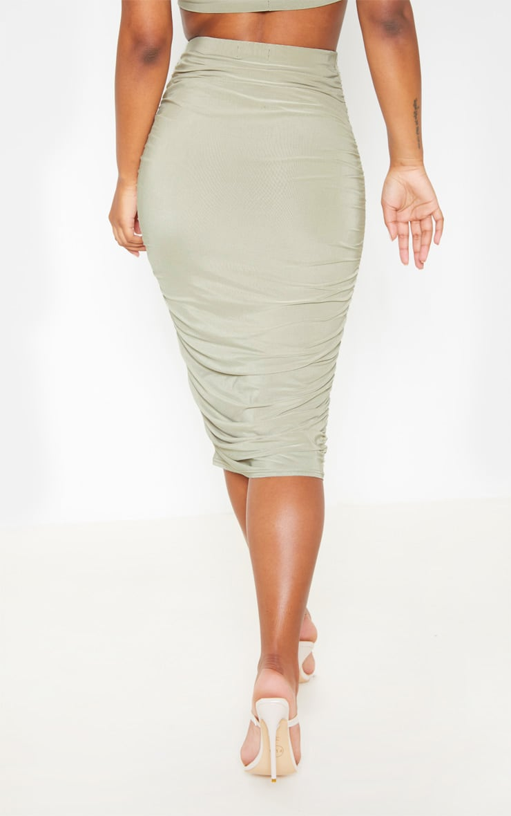 Sage Green Slinky Second Skin Ruched Midi Skirt 4