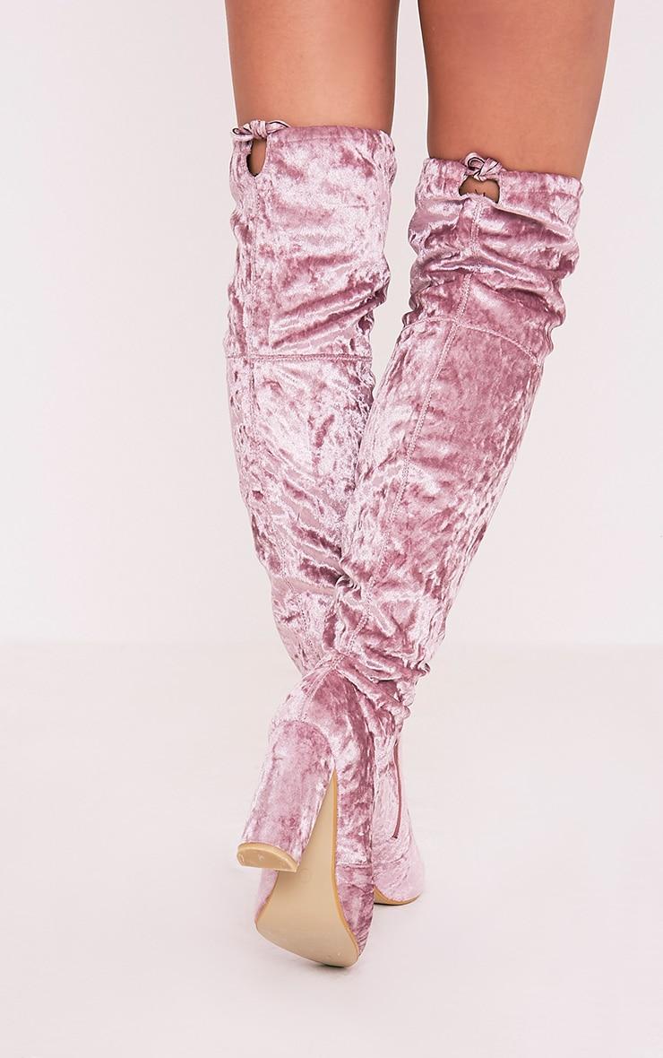 Bess Blush Crushed Velvet Heeled Thigh Boots 3