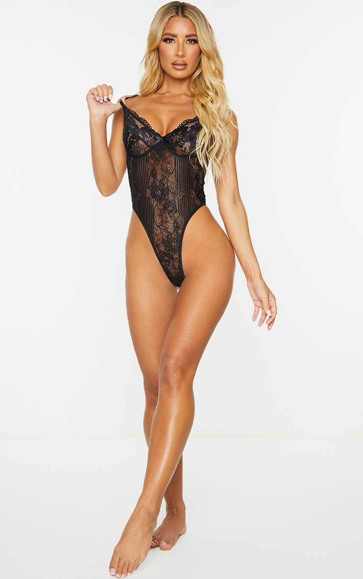 Black Lace Insert High Leg Cupped Body 3