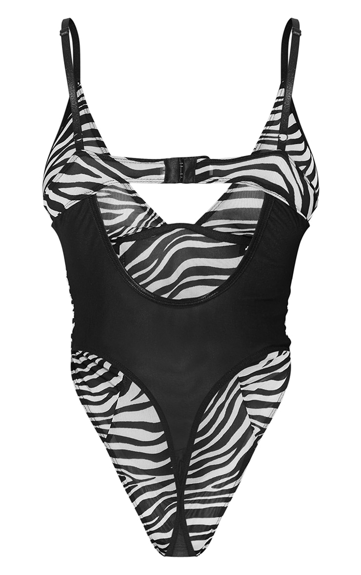 Monochrome Zebra Print Mesh Underwired Plunge Body 6