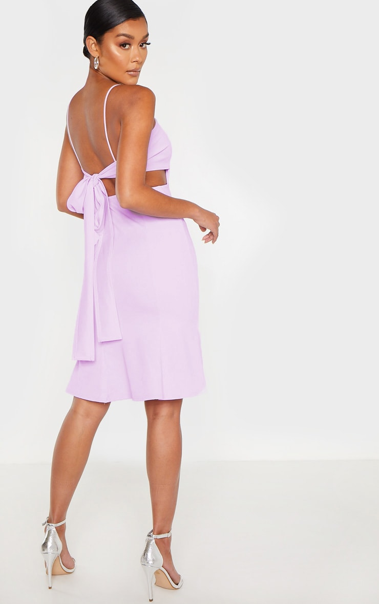Lilac Scuba Crepe Tie Back Midi Dress 1