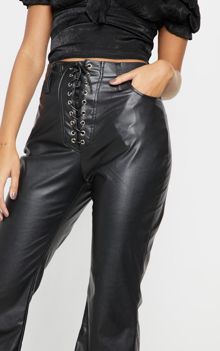 Black Faux Leather Lace Up Front Flare Leg Pants 5