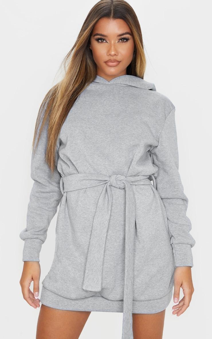 Grey Tie Waist Detail Long Sleeve Hoodie Sweater Dress 1