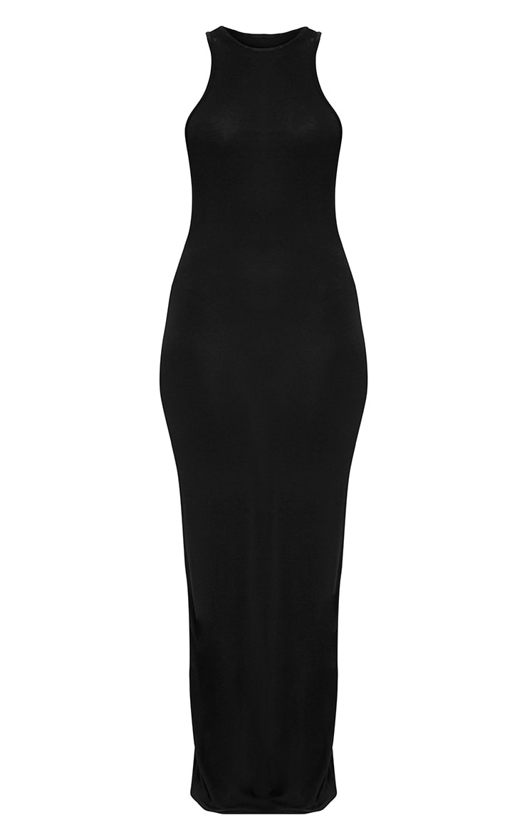 Black Jersey Racer Neck Maxi Dress 3