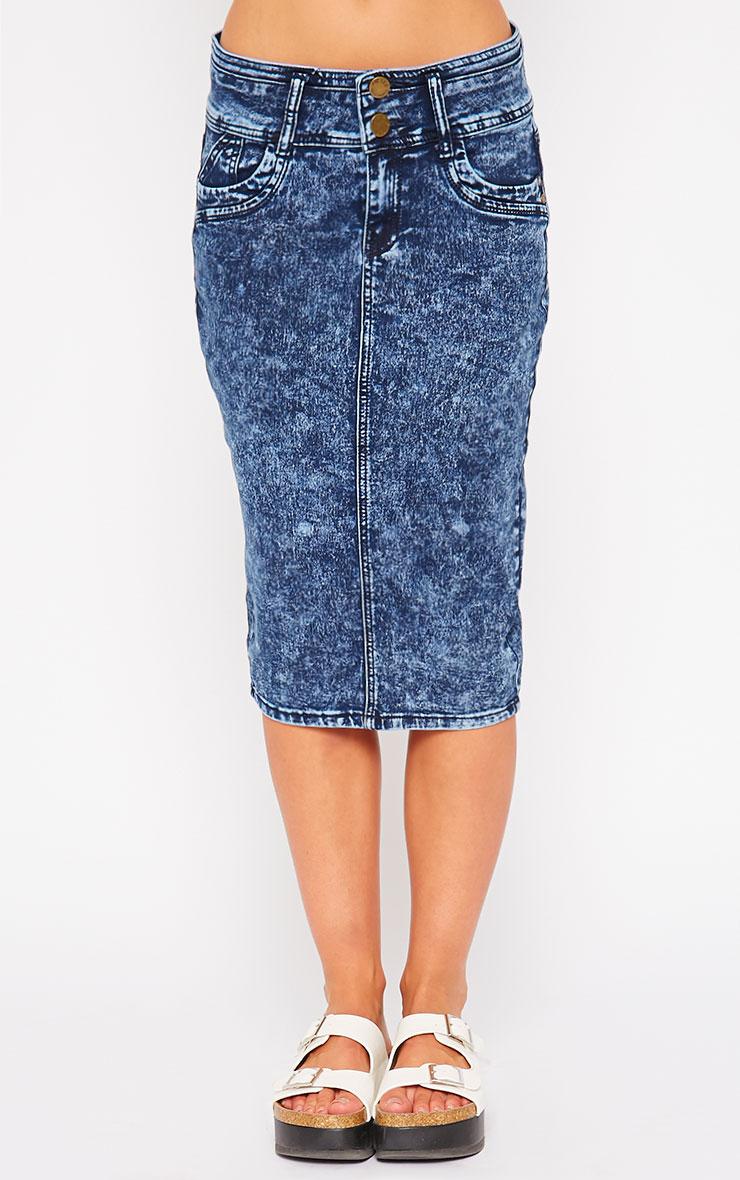 Edie Blue Acid Wash Denim Midi Skirt 2