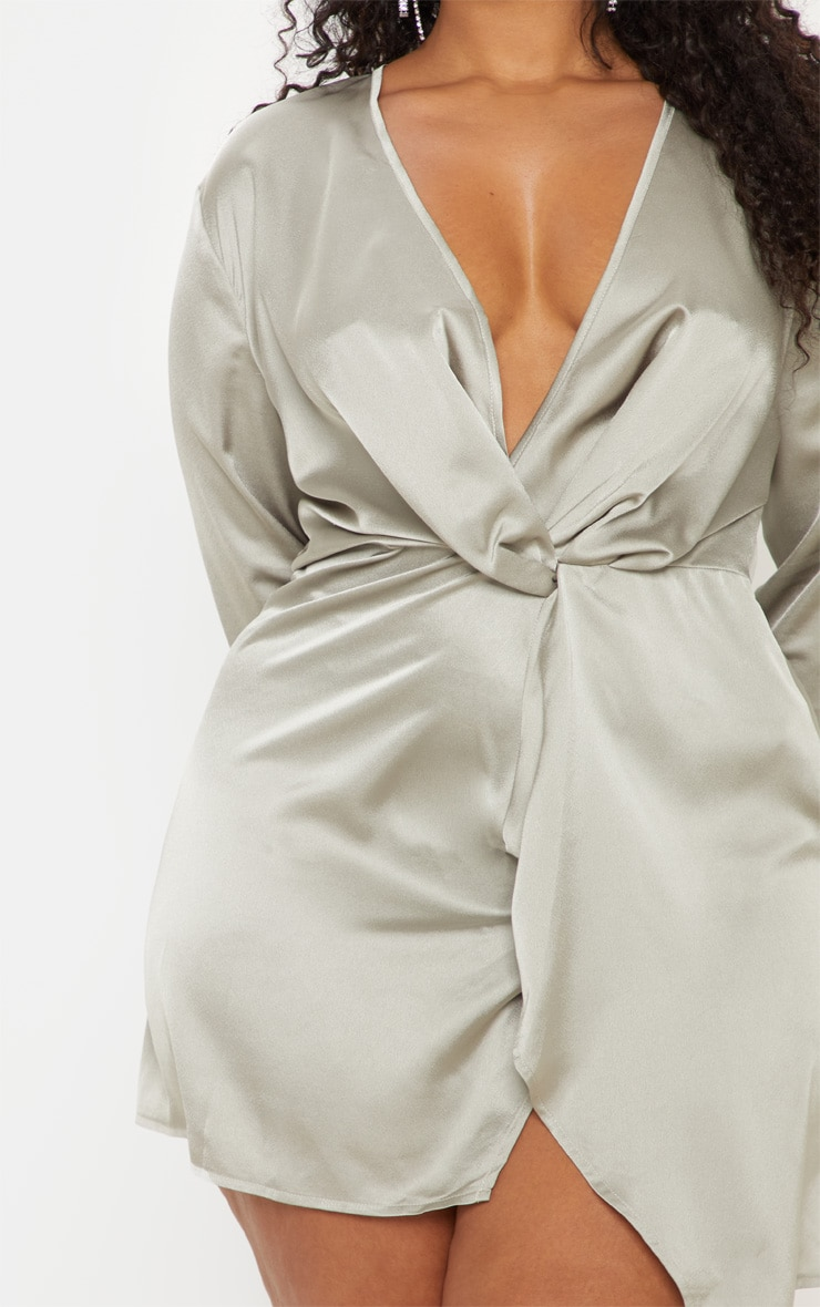 Plus Sage Green Satin Long Sleeve Wrap Dress  5