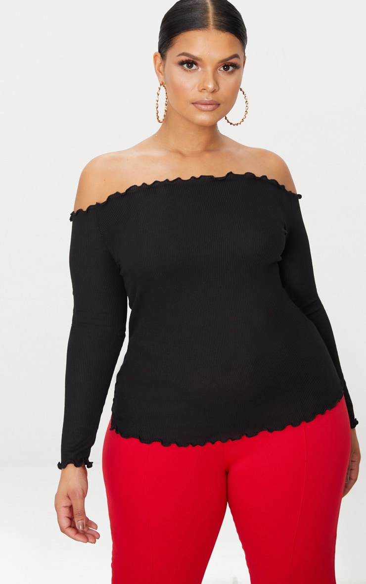 d8c7594967f3d Plus Black Frill Edge Bardot Top image 1