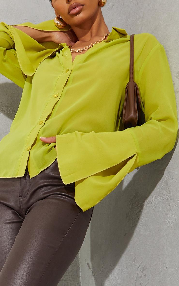 Lime Sheer Chiffon Shirt 4