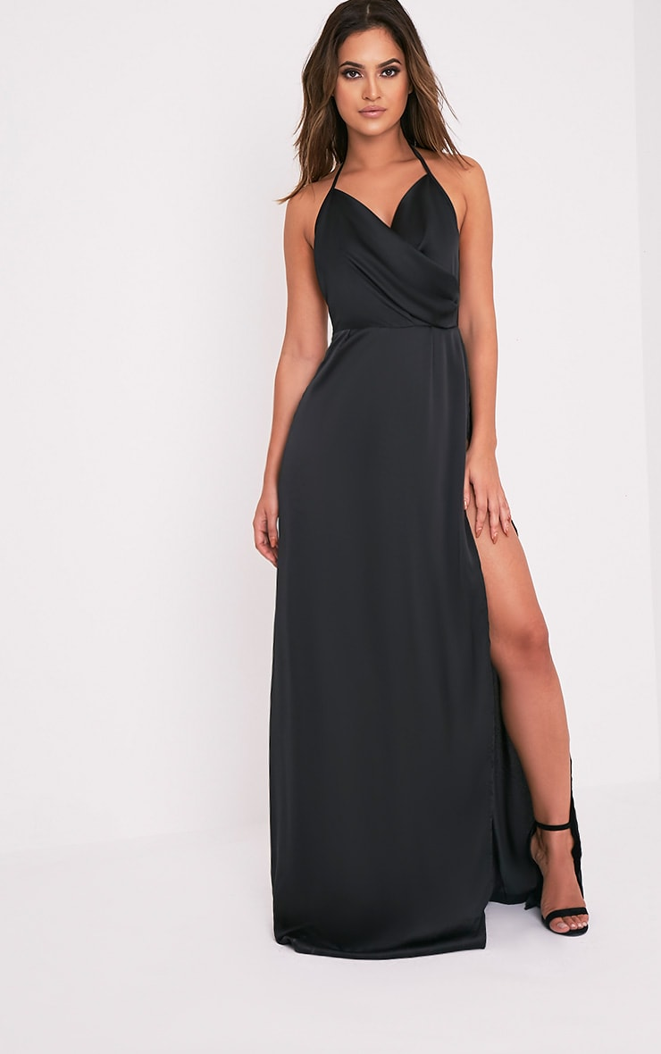 Lucie Black Silky Plunge Extreme Split Maxi Dress 5