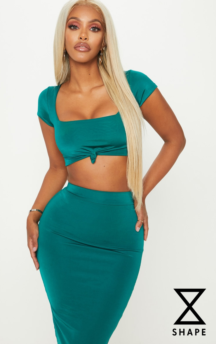 Shape Emerald Green Slinky Knot Front Crop Top