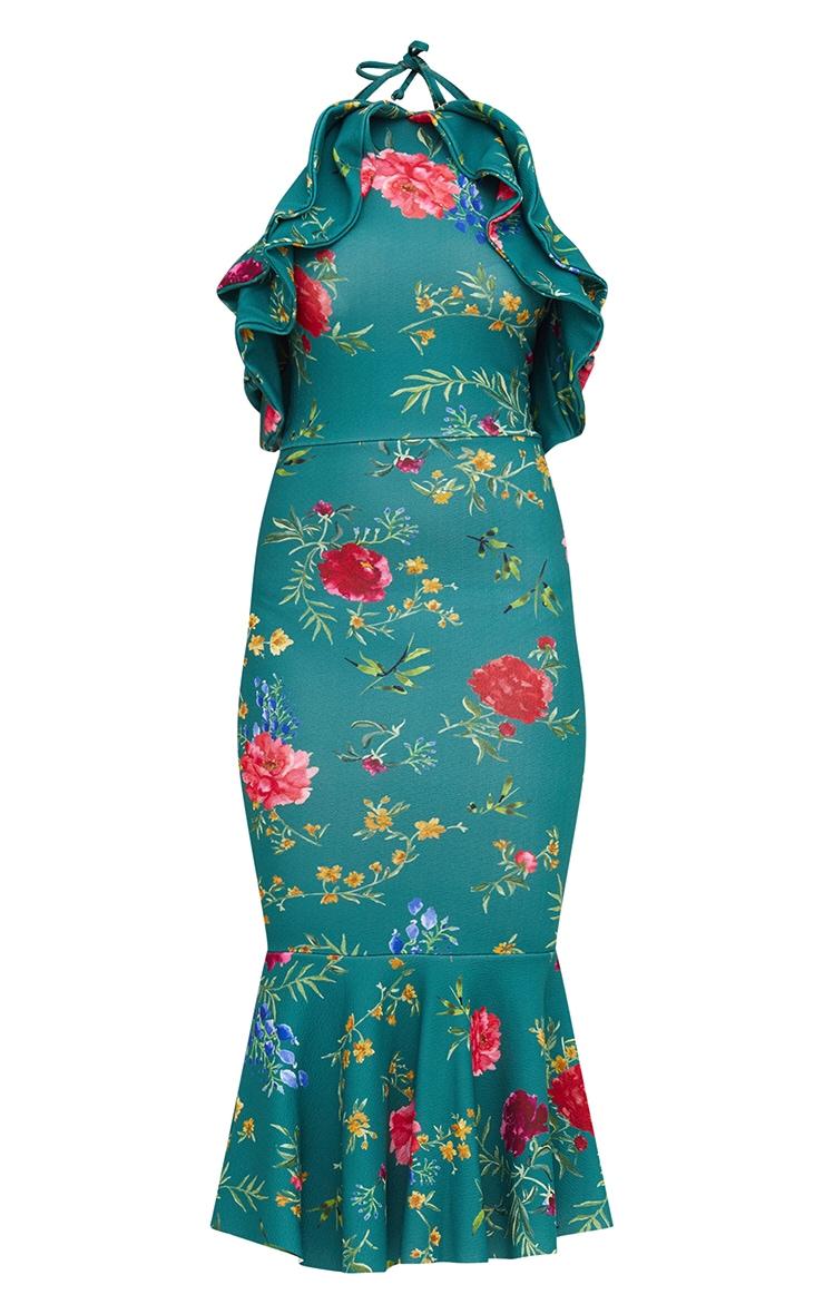 Emerald Green Floral Halterneck Frill Detail Fishtail Midi Dress 3
