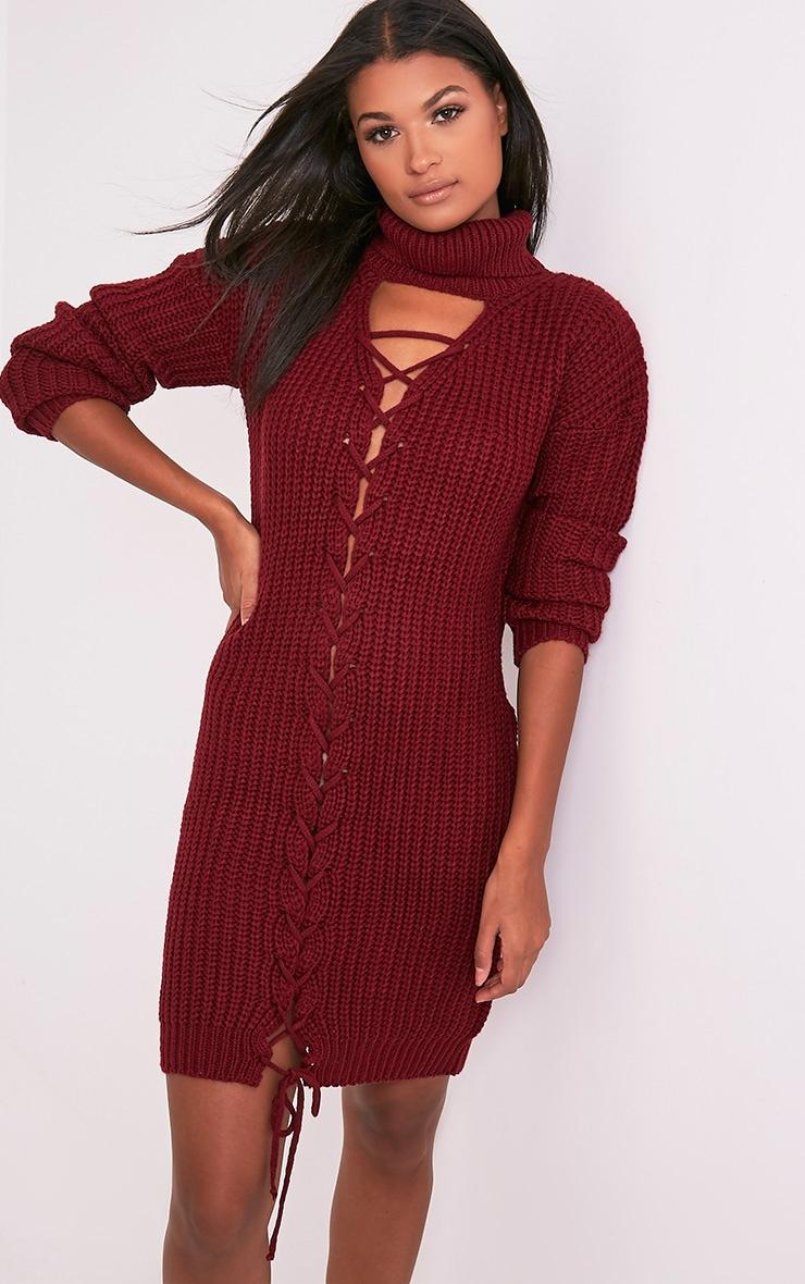 Josalinda robe col roulé à lien à nouer sur le devant en maille rouge 1