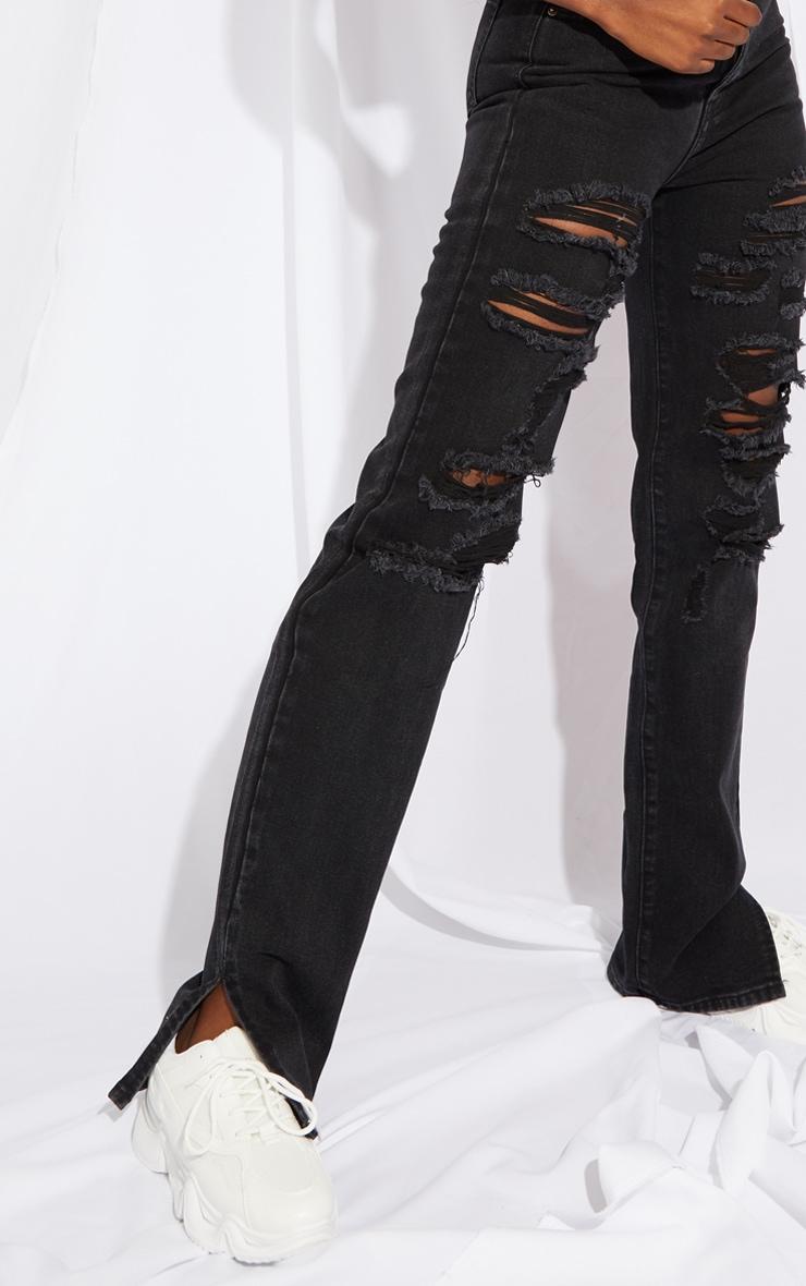 Tall Black Full Distressed Split Hem Denim Jean 4