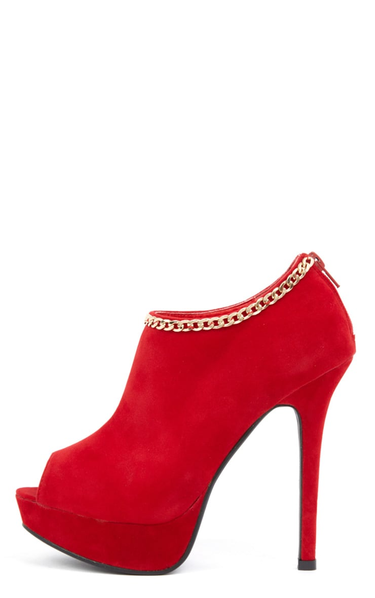 Addison Red Peep Toe Boots 1