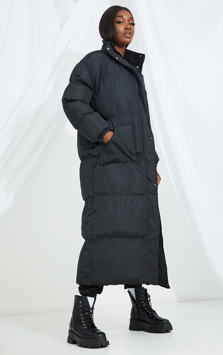 Tall Black Maxi Puffer Coat 3