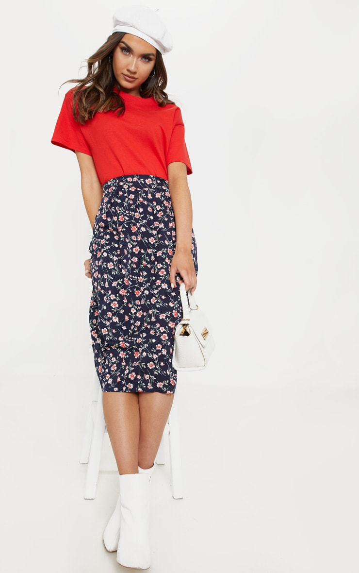 Navy Printed Pleat Front Woven Midi Skirt