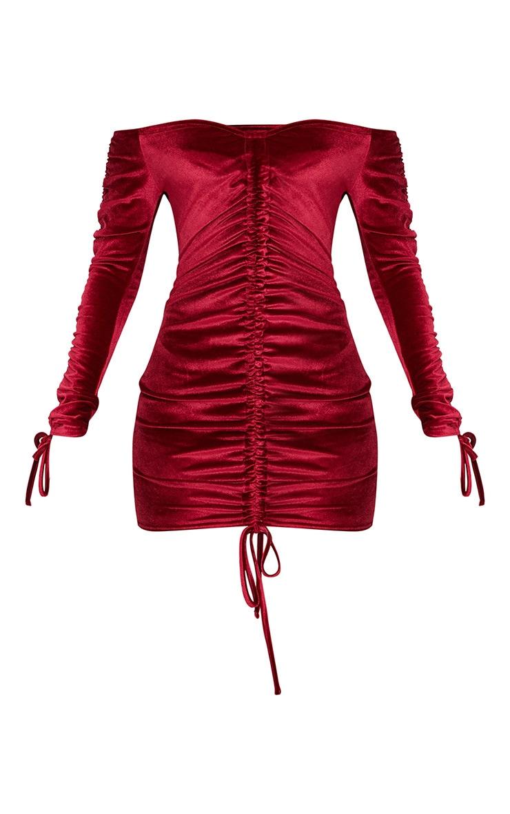 Burgundy Bardot Velvet Ruched Arm Ruched Front Bodycon Dress 3