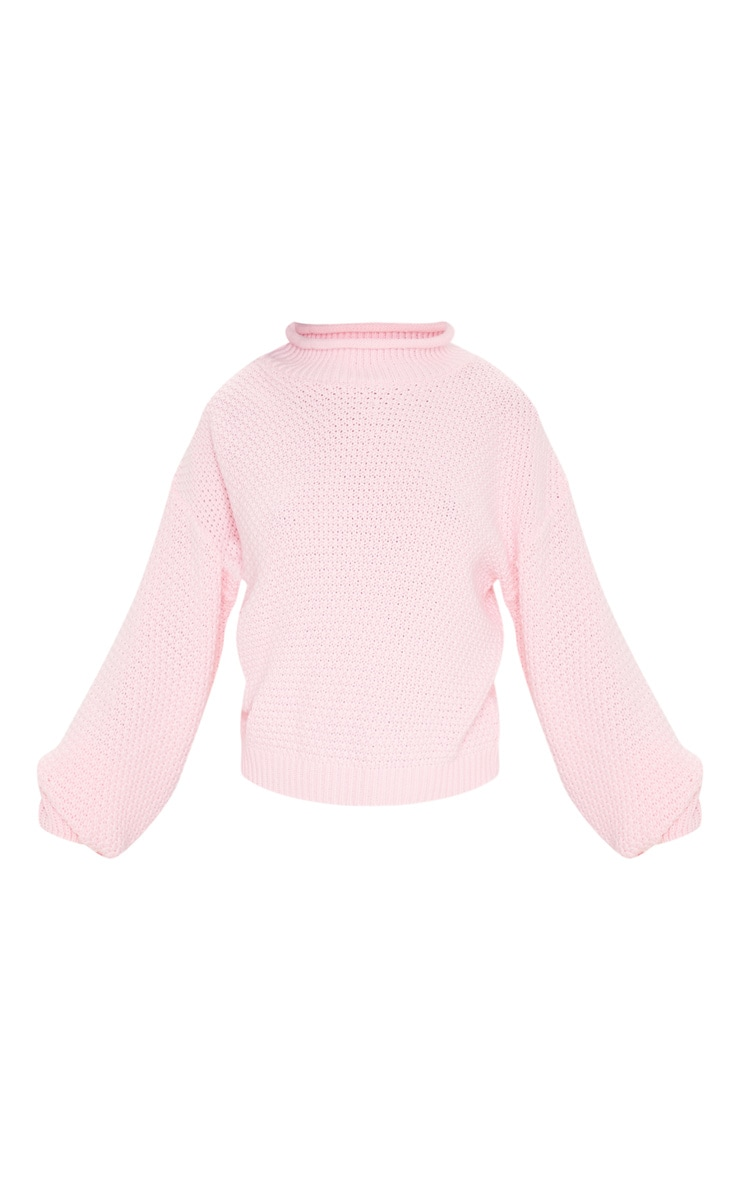 Baby Pink Textured Knit Roll Neck Sweater 3