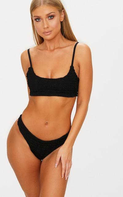 aa390b34b7cdc Black Crinkle Brazilian Thong Bikini Bottom
