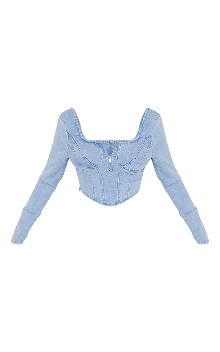 Light Blue Wash Long Sleeve Zip Front Denim Corset Top 5