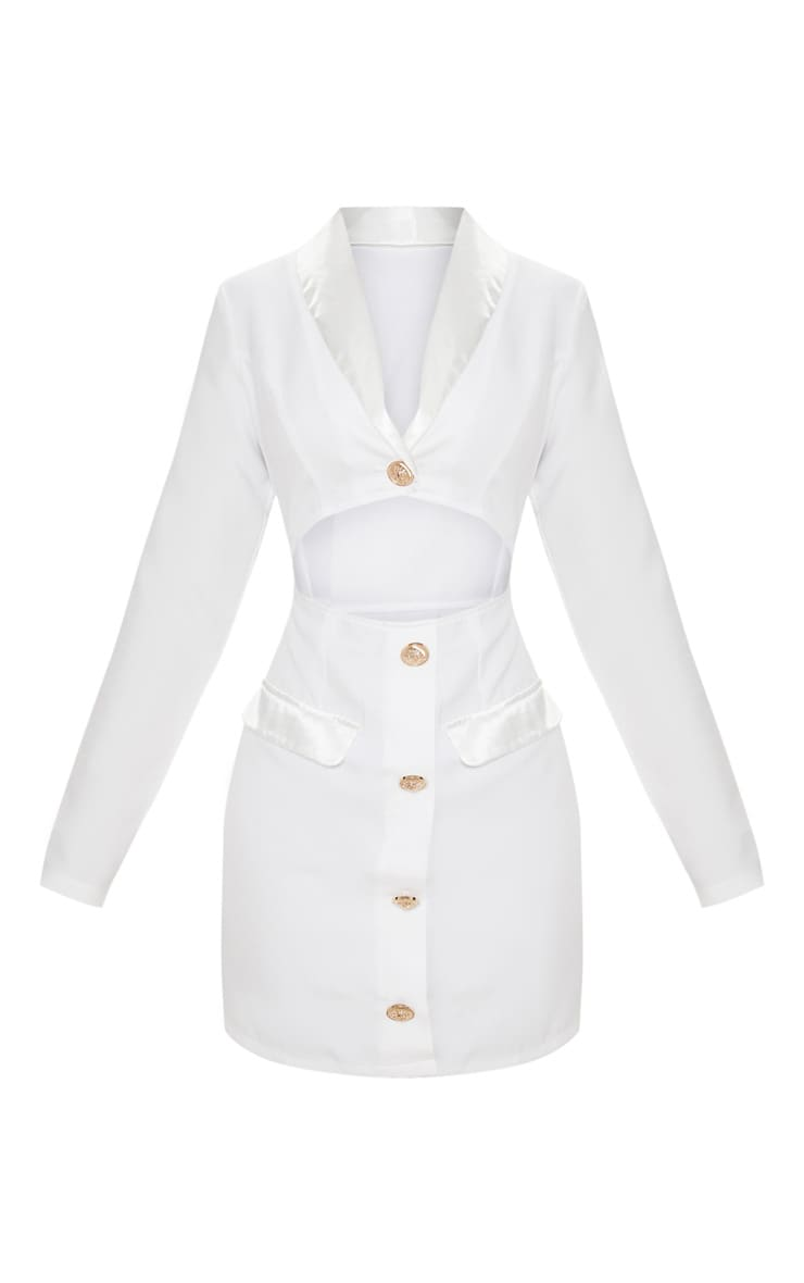 White Gold Button Satin Insert Cut Out Blazer Dress 3