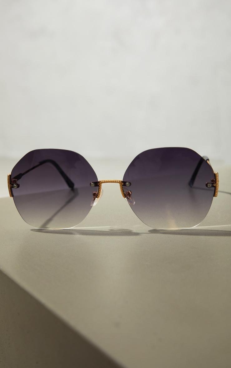 Black Fade Oversized Rimless Hex Sunglasses 3