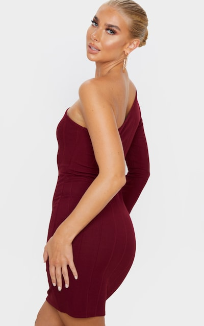 Burgundy One Shoulder Bandage Rib Bodycon Dress
