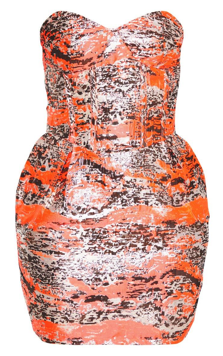 Neon Pink Jacquard Bandeau Binding Detail Structured Dress 3