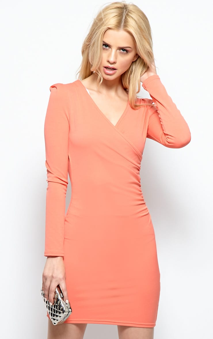 Mina Coral Crossover Dress 1