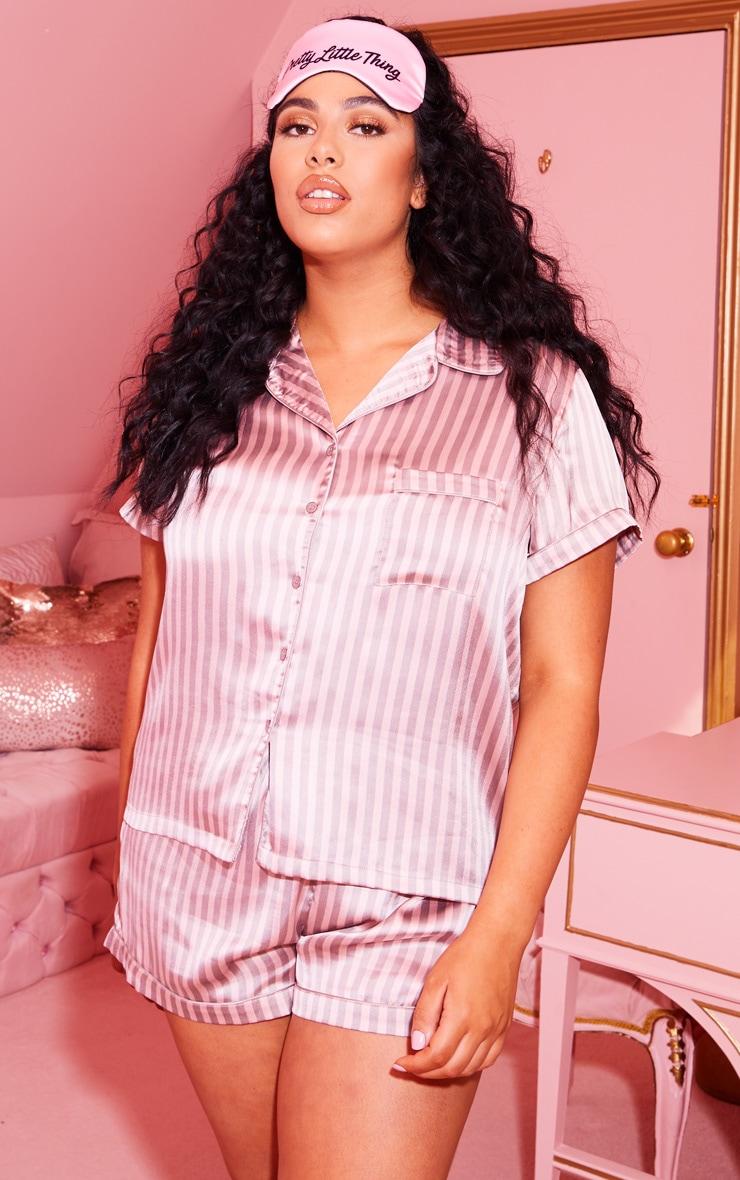 Plus Pink Striped Satin Pyjama Set  1