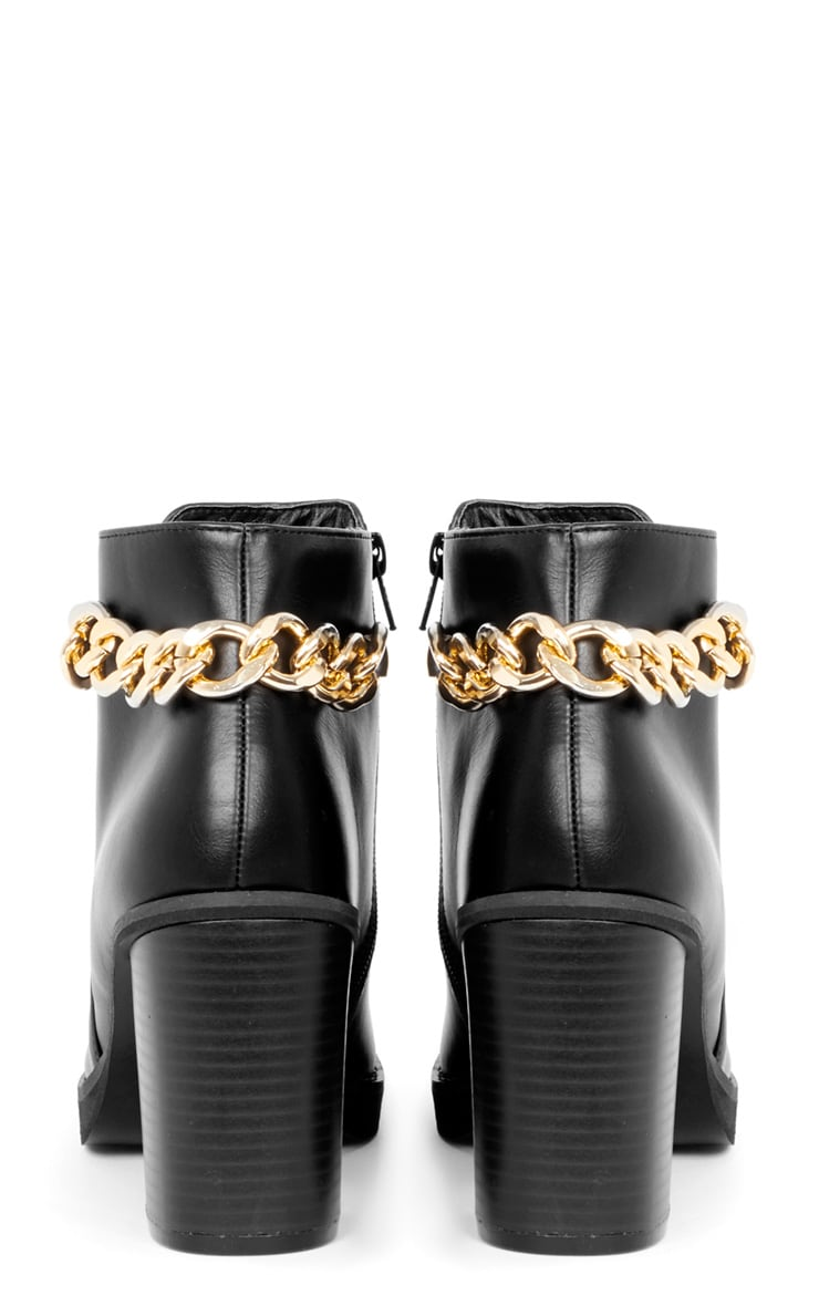 Gina Black Gold Chain Detail Heeled Boot  4