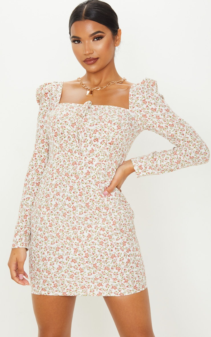 Cream Floral Square Neck Shift Dress  1