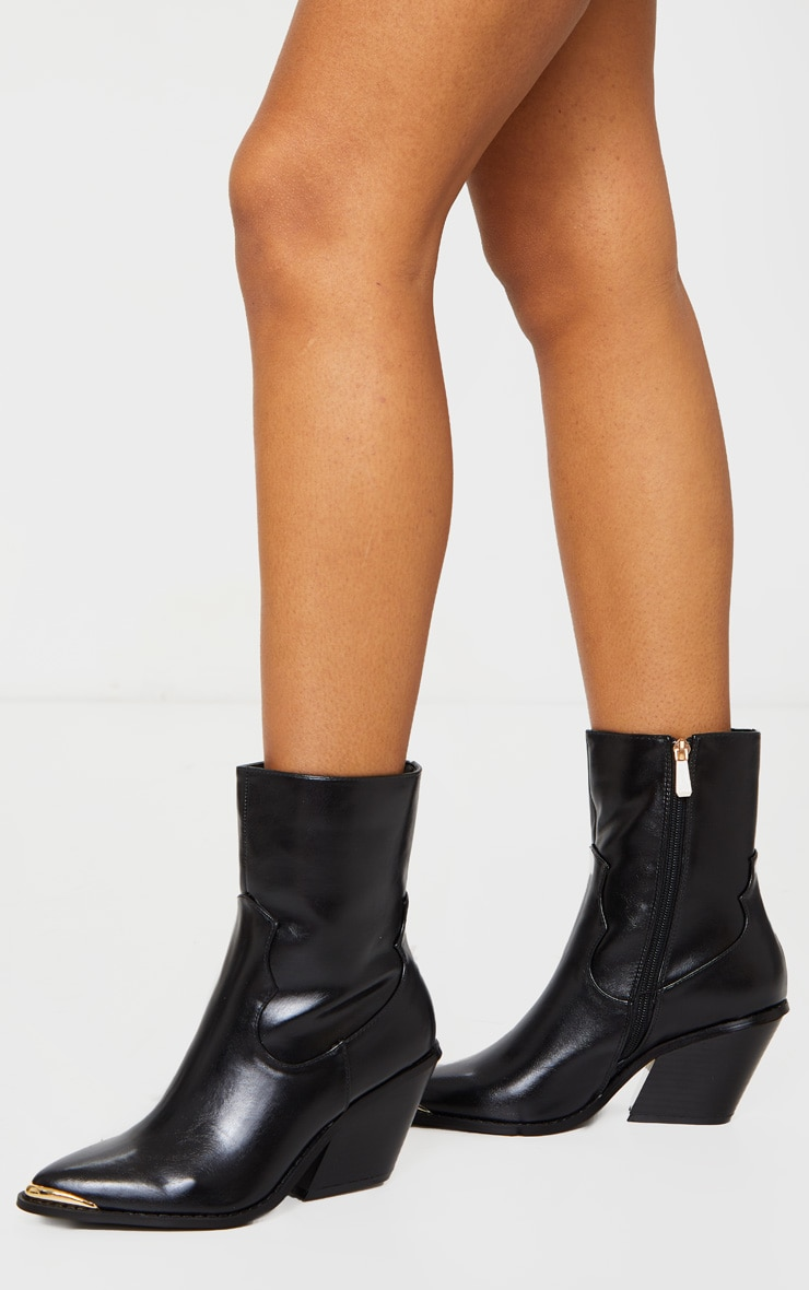 Black PU Metal Toe Ankle Western Boots 1