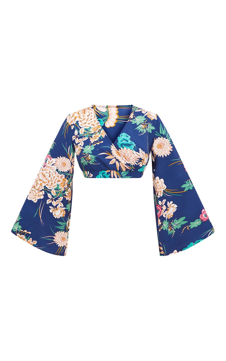 Navy Floral Print Flare Sleeve Plunge Blouse 3