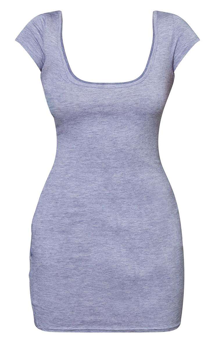 Petite Grey Marl Cap Sleeve Mini Dress 6