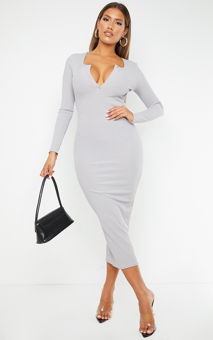 Shape Grey Ribbed Button Front Long Sleeve Midaxi Dress
