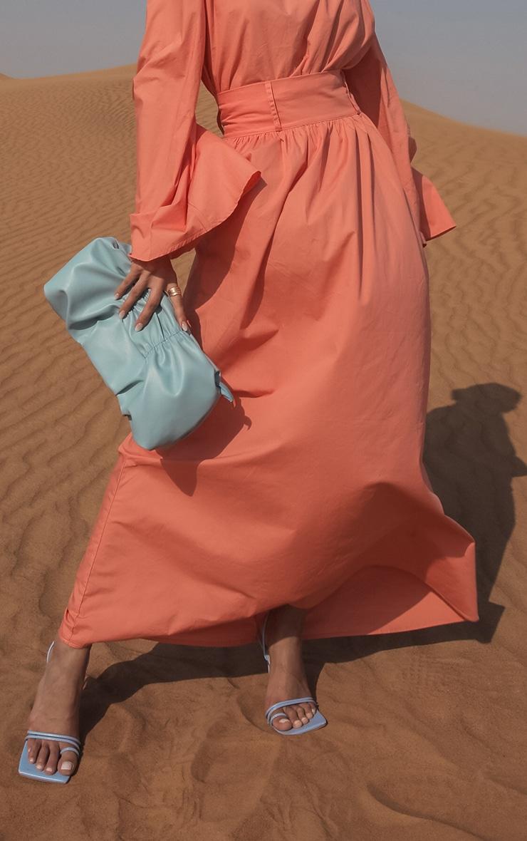 Peach Woven High Waist Detail Maxi Skirt 2
