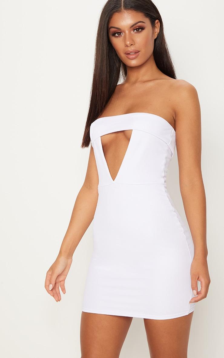 White Bandeau Fold Detail Bodycon Dress 1