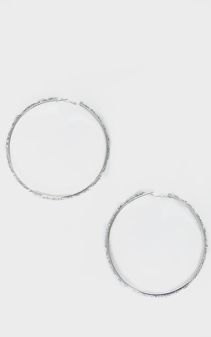 Silver Crystal Cluster Extra Large Hoop Earrings 2