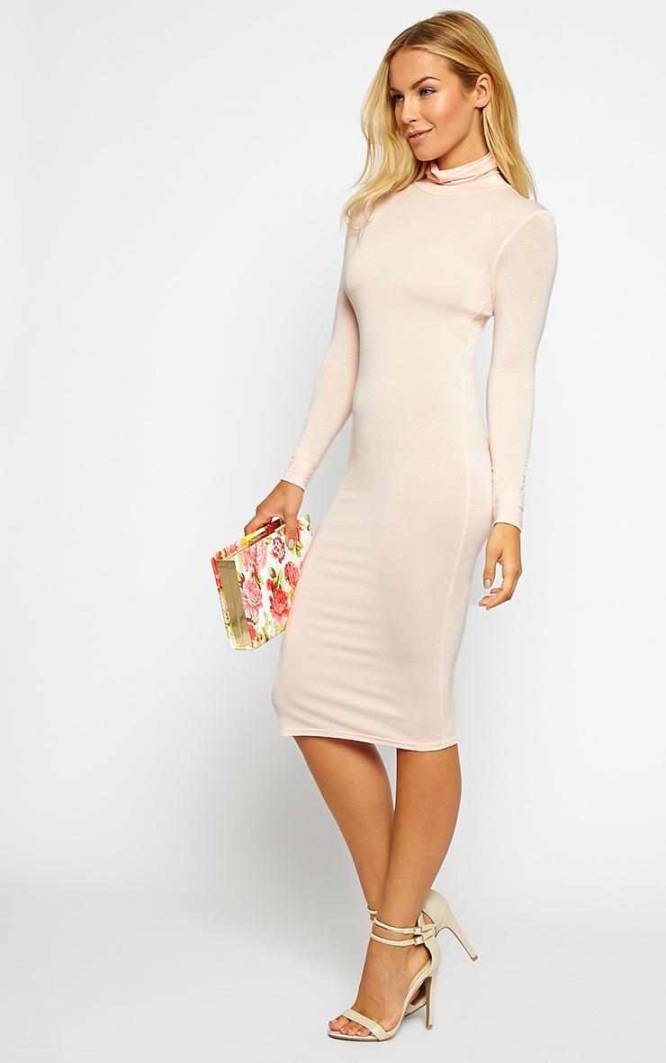 Basic Nude Jersey Roll Neck Midi Dress 3