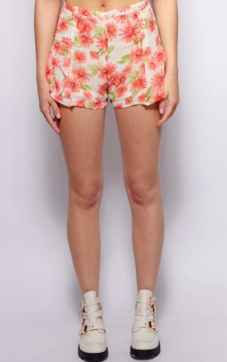 Toni Cream Floral Print Chiffon Shorts 3