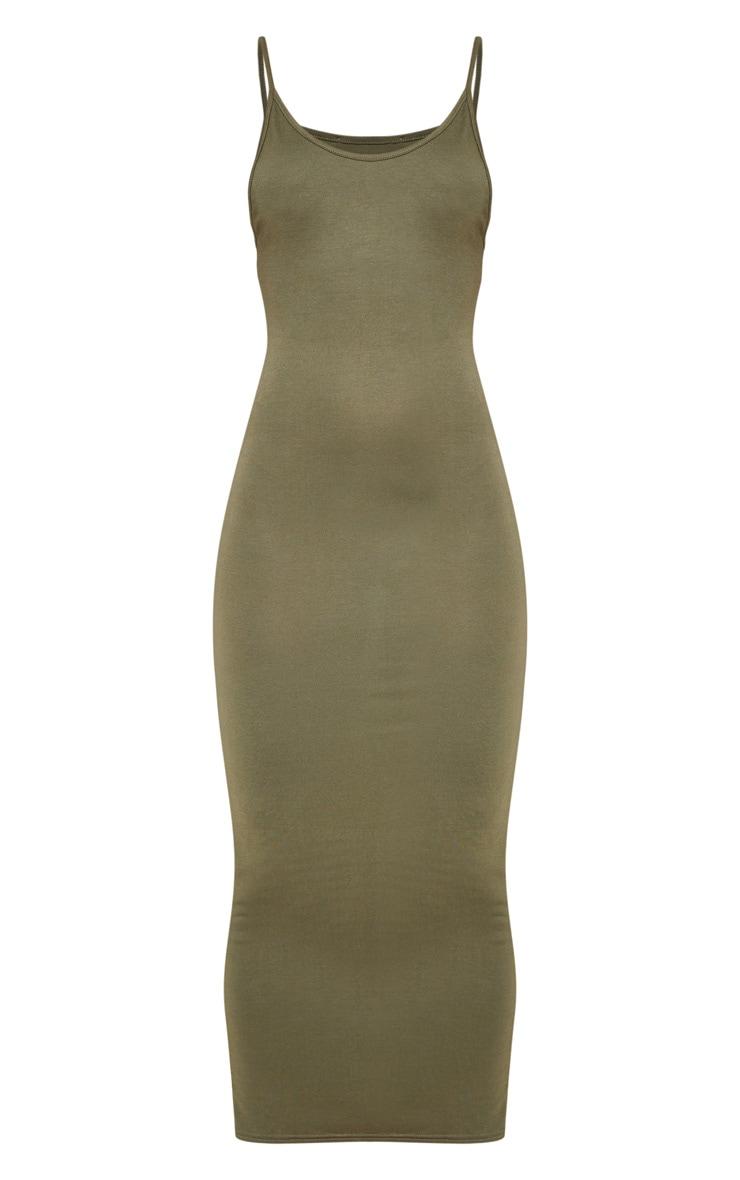 Khaki Vest Drop Arm Hole Maxi Dress 5