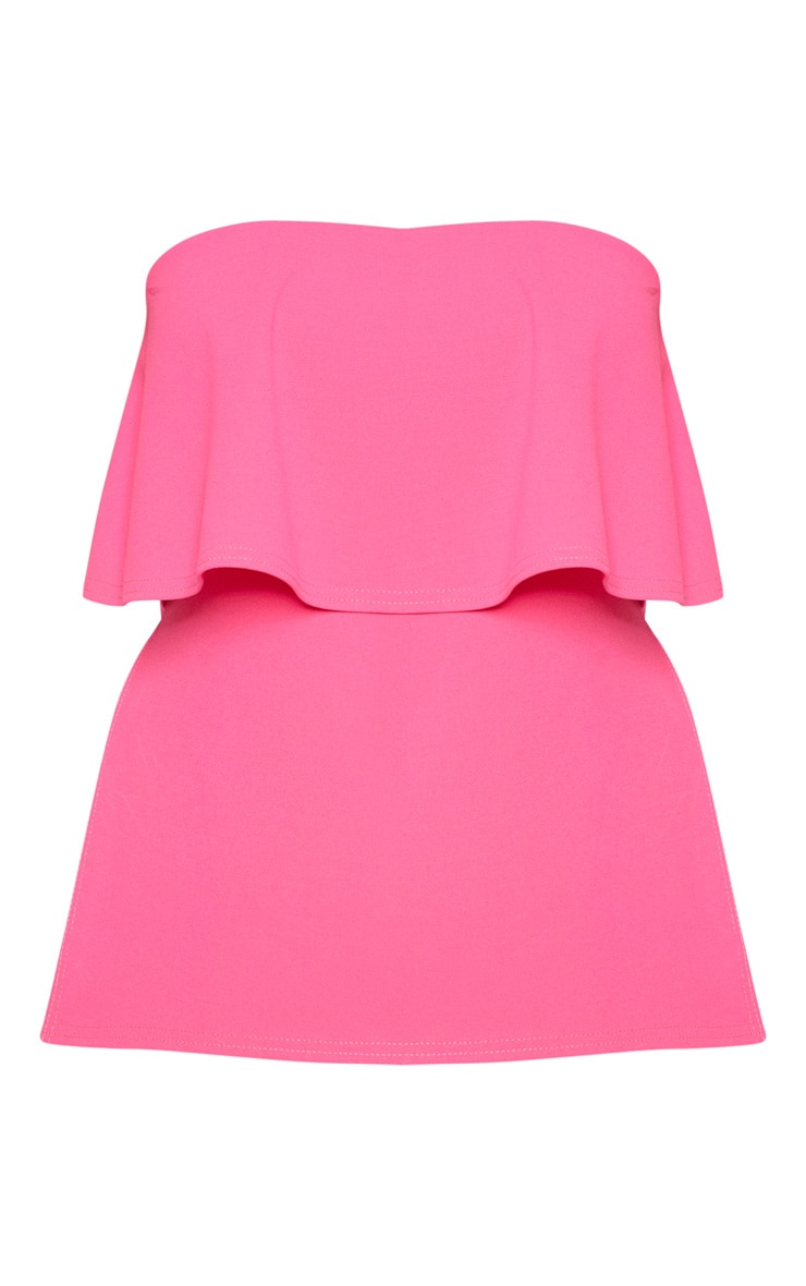 Plus Hot Pink Bandeau Frill Overlay Top 3