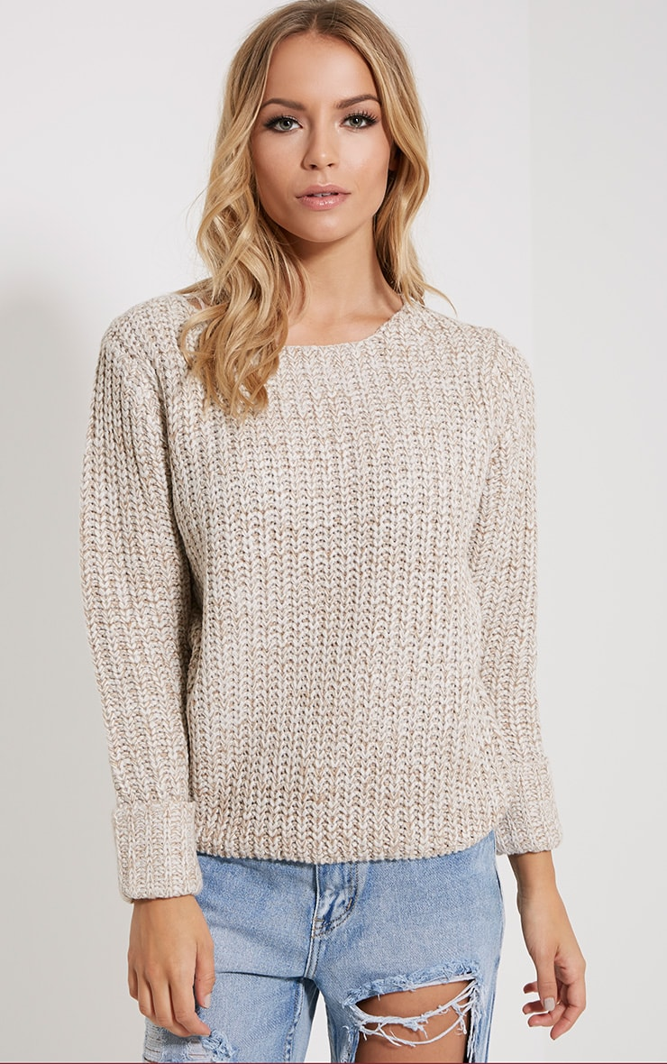 Eda Stone Chunky Knitted Jumper 1