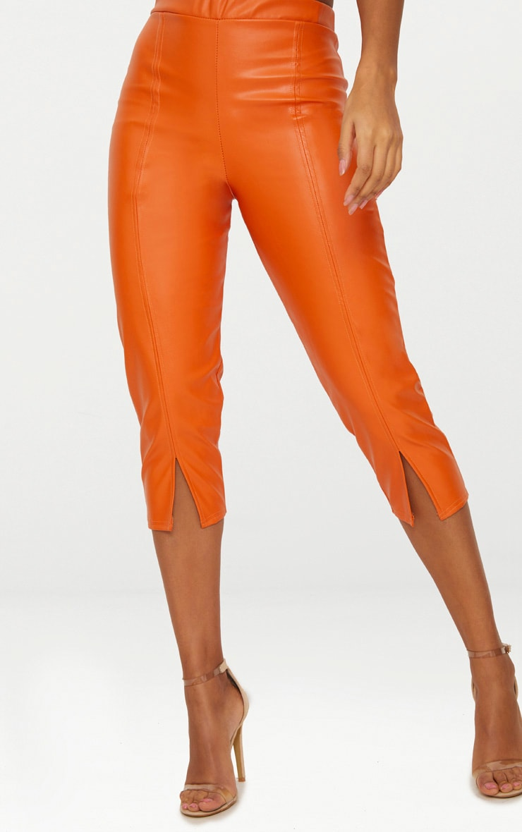 Orange Faux Leather Split Cropped Trousers 5