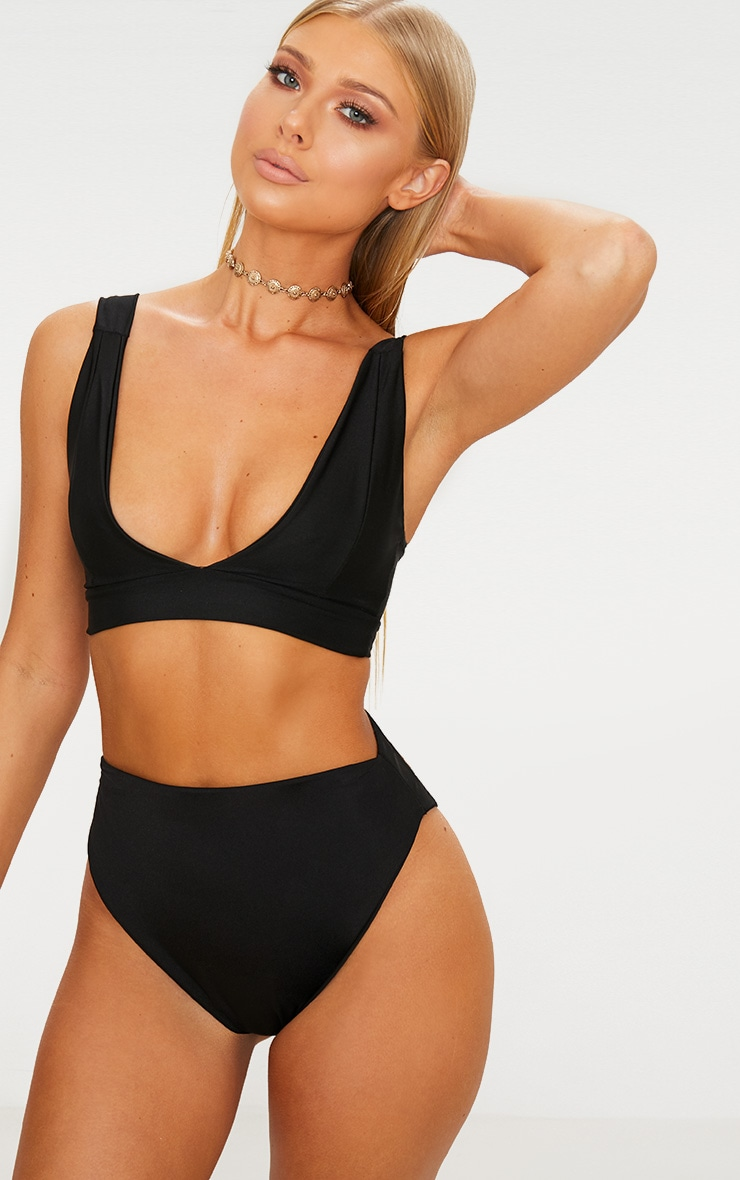 Black Mix & Match High Waisted High Leg Bikini Bottom 1