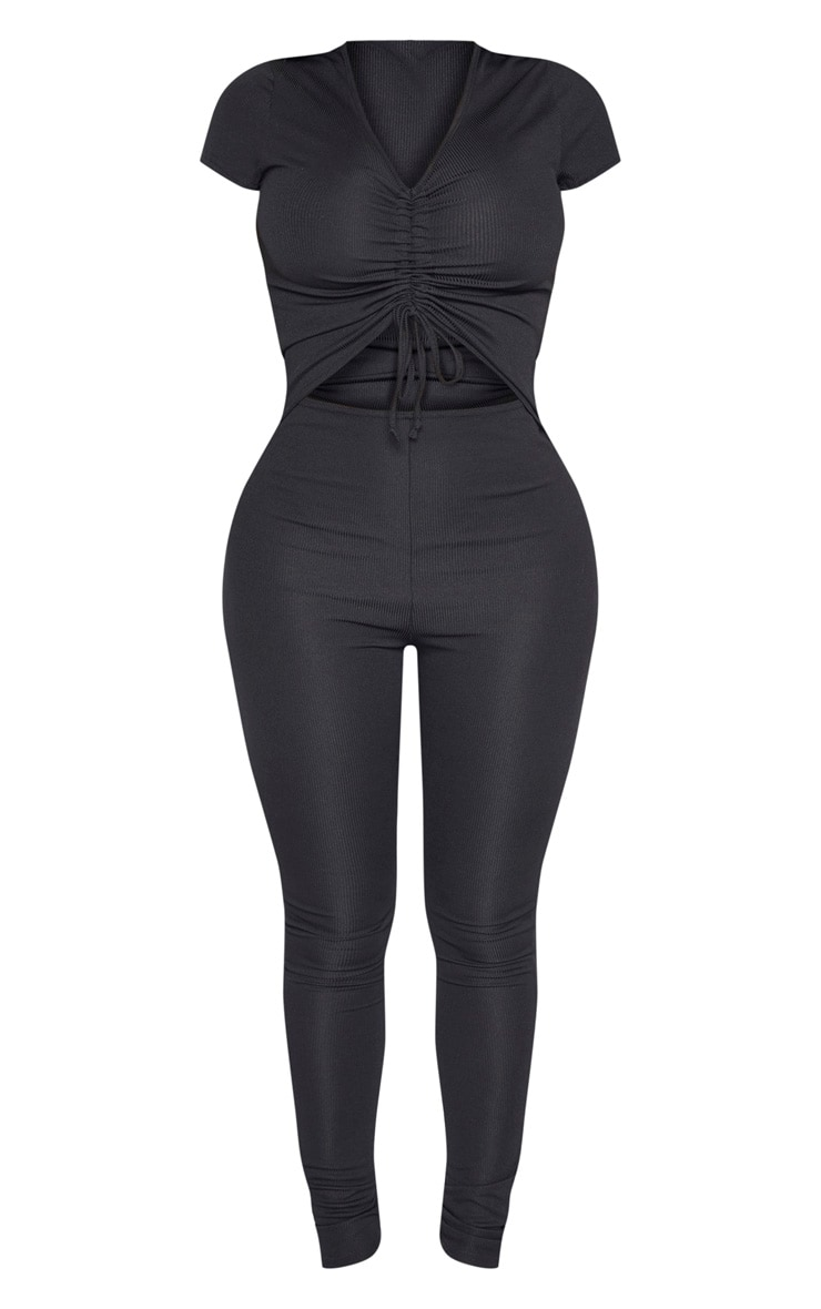 Shape Black Ribbed Ruched Cut Out Jumpsuit 3