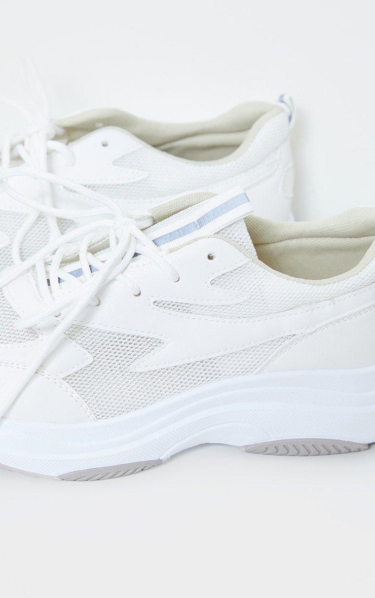 White Contrast Mesh Layered Sole Trainers 4