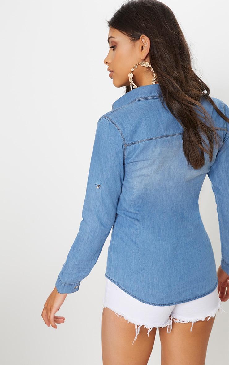 Chemise en jean à délavage moyen 3